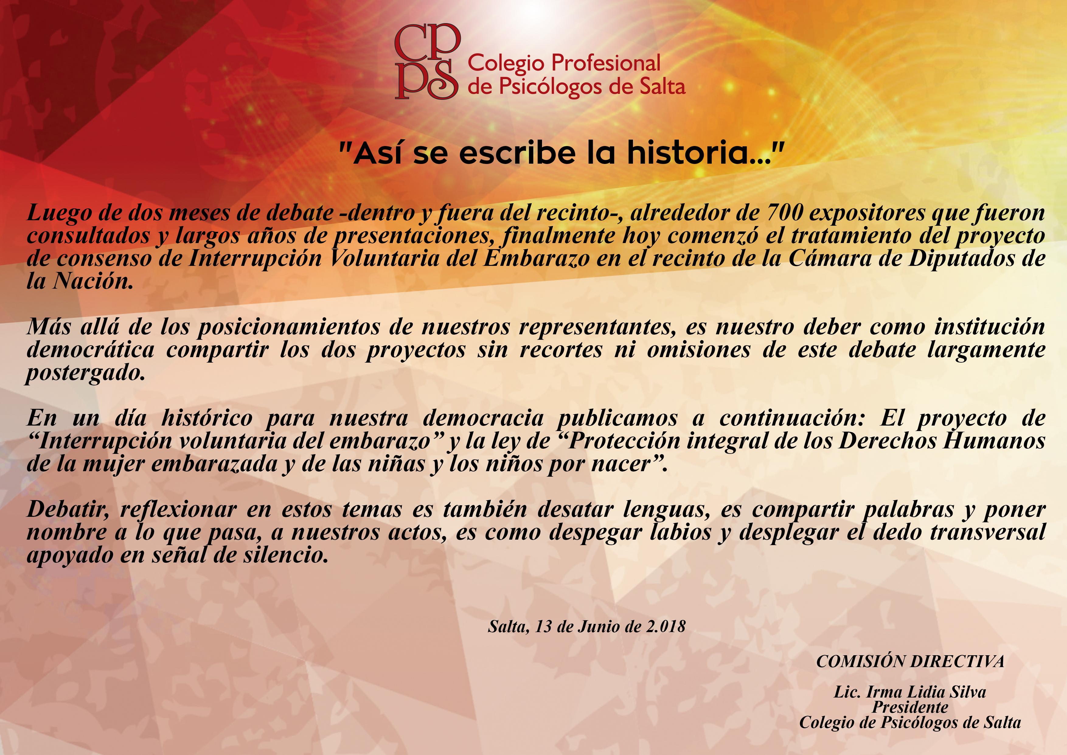 0e59ccf33 Interrupción Voluntaria del Embarazo - Colegio Profesional de Psicólogos de  Salta